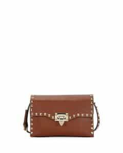Valentino Light Brown Rockstud Medium Shoulder Bag