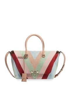 Valentino Multicolor Chevron Suede Demilune Small Satchel Bag