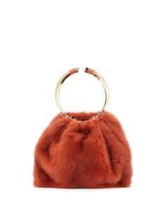 Valentino Orange Bebop Loop Mink Fur Top-Handle Bag