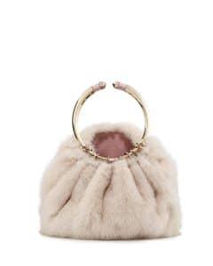 Valentino Pink Bebop Loop Mink Fur Top-Handle Bag