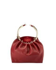 Valentino Red Bebop Loop Leather Top-Handle Bag