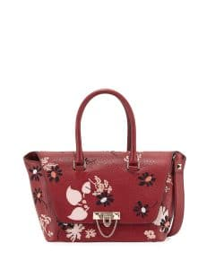 Valentino Red Demilune Floral-Print Double-Handle Small Satchel Bag