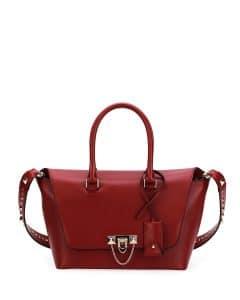 Valentino Red Demilune Rockstud Small Satchel Bag