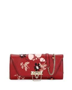 Valentino Red Floral Demilune Chain Clutch Bag