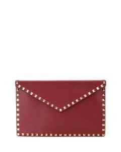Valentino Red Rockstud Large Envelope Clutch Bag