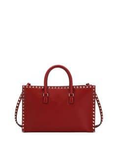 Valentino Red Rockstud Medium Tote Bag
