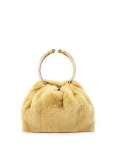 Valentino Yellow Bebop Loop Mink Fur Top-Handle Bag