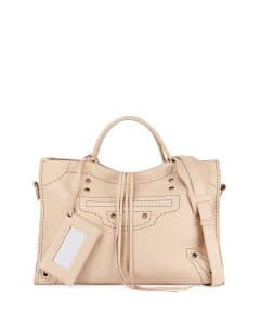 Balenciaga Beige Grained Calfskin Blackout Small City Bag