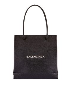Balenciaga Black/White Grained Leather Shopping Tote Bag