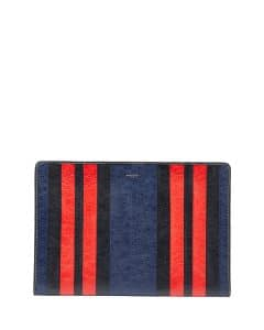 Balenciaga Blue/Red/Black Striped Bazar Pouch Bag