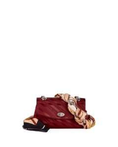 Balenciaga Burgundy Lock Round Small Scarf Satin Shoulder Bag