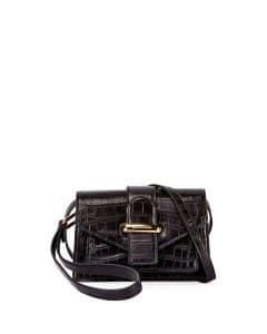 Balenciaga Noir Crocodile Embossed Triangle Shoulder Bag