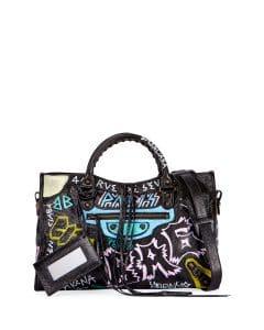 Balenciaga Noir Graffiti Classic City Bag