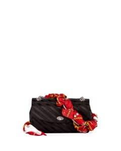 Balenciaga Noir Lock Round Medium Scarf Satin Shoulder Bag