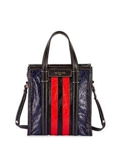 Balenciaga Red/Black/Blue Striped Bazar Shopper XS Bag