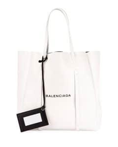 Balenciaga White/Black Logo Everyday XS Tote Bag