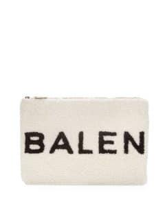 Balenciaga White/Black Logo Shearling Pouch Bag