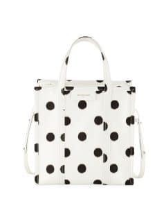 Balenciaga White/Black Polka Dot Bazar Shopper S Bag