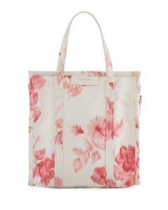 Balenciaga White/Rose Floral Print Bazar Shopper S Bag