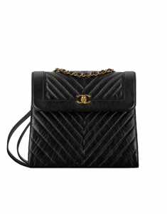 Chanel Black Calfskin Chevron Backpack Bag