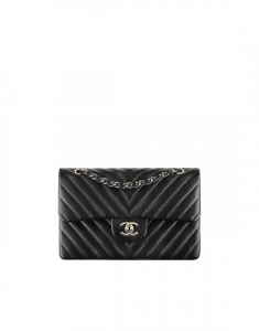 Chanel Black Chevron Small Classic Flap Bag