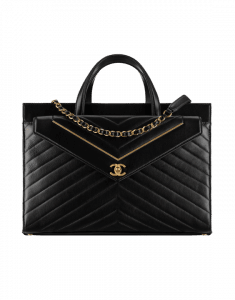 Chanel Black Lambskin Chevron Small Shopping Bag
