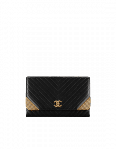 Chanel Black Lambskin Chevron with Gold-Tone Metal Clutch Bag