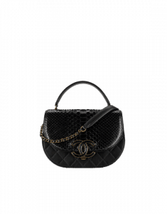 Chanel Black Python Coco Curve Messenger Bag