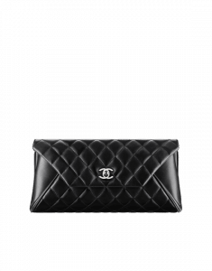 Chanel Black Quilted Lambskin Clutch Bag