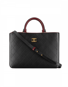 Chanel Black/Burgundy Bullskin Medium Shopping Bag