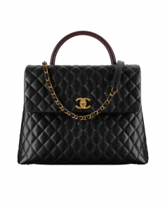 Chanel Black/Burgundy Coco Handle Large Bag