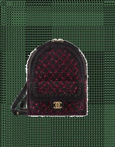 Chanel Black/Burgundy Knit Backpack Bag