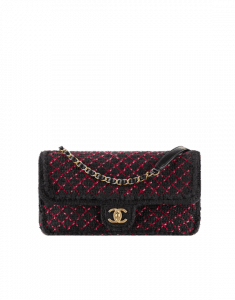 Chanel Black/Burgundy Knit Flap Bag