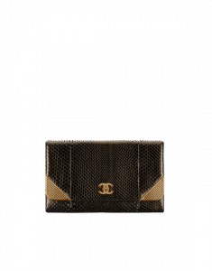 Chanel Gold/Black Python with Gold-Tone Metal Clutch Bag