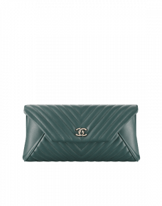 Chanel Green Chevron Lambskin Clutch Bag