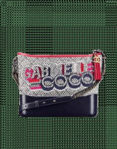 Chanel Grey/Navy Blue Tweed/Calfskin Gabrielle Hobo Bag