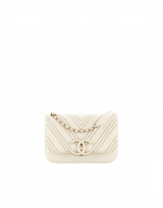 Chanel Ivory Subtle Chevron Small Flap Bag