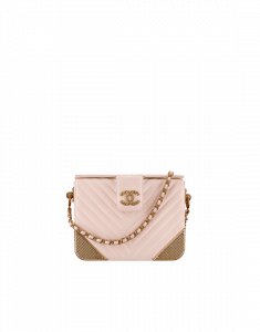 Chanel Light Beige Lambskin Chevron with Gold-Tone Metal Minaudiere Bag