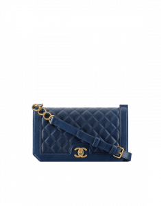 Chanel Navy Blue Grained Calfskin Medium Flap Bag