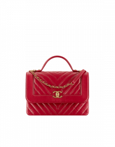 Chanel Red Calfskin Chevron Flap Bag with Top Handle