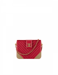 Chanel Red Lambskin Chevron with Gold-Tone Metal Minaudiere Bag