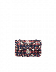 Chanel Red/Navy Blue/Beige Tweed with Braid Rectangular Mini Classic Flap Bag