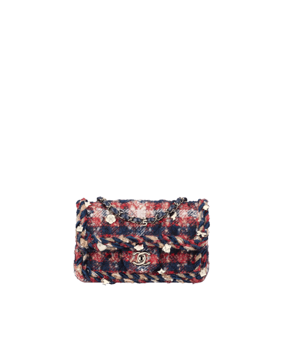 ddb3d89d9447a Chanel Red Navy Blue Beige Tweed with Braid Rectangular Mini Classic Flap  Bag
