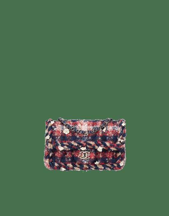 b15e1cb50d5e Chanel Red Navy Blue Beige Tweed with Braid Rectangular Mini Classic Flap  Bag
