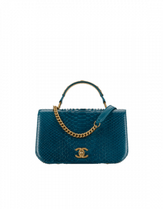 Chanel Turquoise Python Carry Around Small Flap Bag