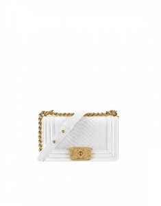 Chanel White Python Boy Chanel Exotic Small Bag