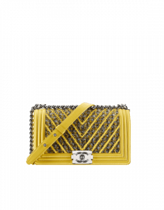 Chanel Yellow/Silver/Black Boy Chanel Chevron Old Medium Bag