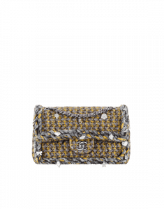 Chanel Yellow/Silver/Black Tweed with Braid Small Classic Flap Bag