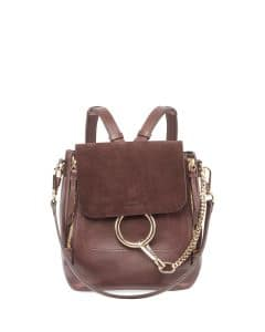 Chloe Brown Leather/Suede Faye Small Backpack Bag