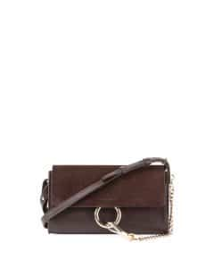 Chloe Carbon Brown Suede/Leather Faye Wallet-on-a-Strap Bag